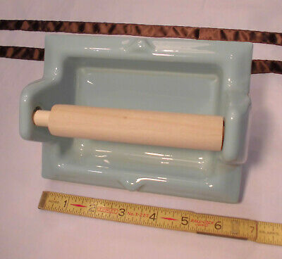Vintage *Robin Egg Blue* Glossy Ceramic Toilet Paper Holder by Fairfacts     NOS