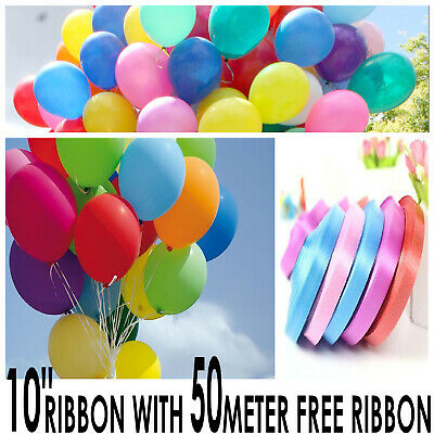 100 X Mix Color Latex Helium Air Balloons Party Balons With 50 Meter Free Ribbon