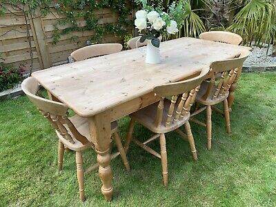 Vintage Farmhouse Pine Table 6 Spindle Backed Chairs Kitchen Dining