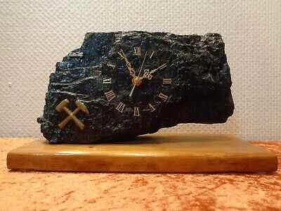 Watch from Coal / Hard - Mining - Vintage - Weight Approx. 6.8lbs - Wooden Base