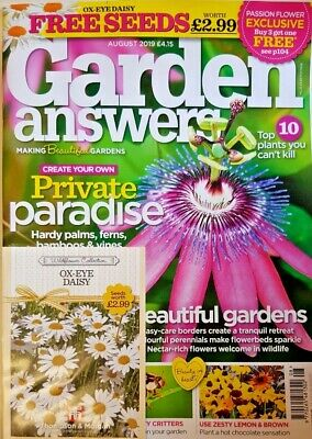 Garden Answers Magazine August 2019 = Free Ox-Eye Daisy Seeds Worth £2.99