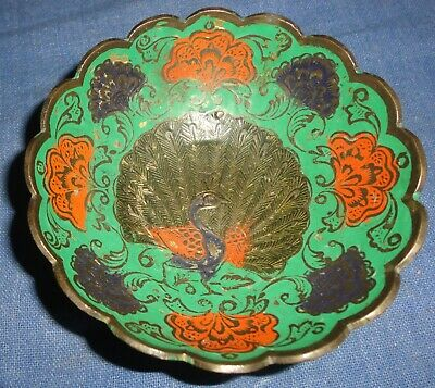 Vintage Old Collectible Decorative Floral Peacock Meena Work Brass Bowl