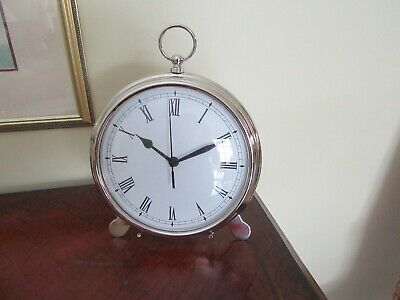"""Pottery Barn Clock, Pocket watch on stand or wall mount,9""""round,Nickel finish"""