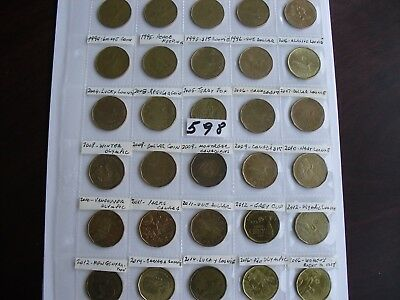 30 Loonie coin Canada $1 Dollar collection lot Canadian all different # 598