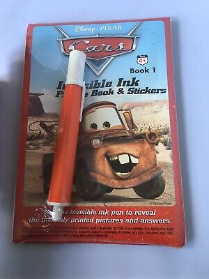 CARS Pixar disney Invsible Ink Book 1 And Stickers