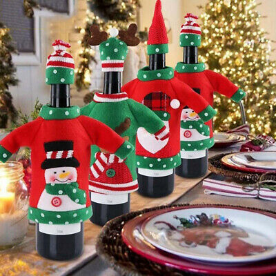 Xmas Elk Christmas Red Wine Bags Unisex Sweater Bottle Cover Office Products