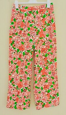 LILLY PULITZER The Lilly Vintage Orange Green White Pink Floral Wide Leg Pants