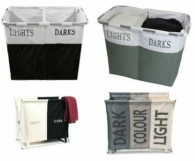 Folding Light & Dark Laundry Cloth  Basket Hamper Bin Storage