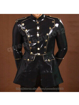 Latex Rubber Gummi Herren Jacke Military Uniform Catsuit Bodysuit Schwarz S-XXXL