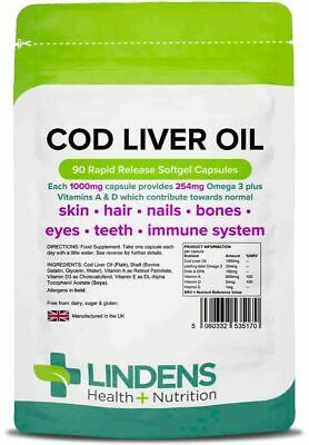 Cod Liver Oil 1000mg 90 or 360 Capsules Omega 3 Vitamin A Vitamin D UK Made