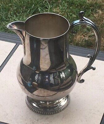 """Vintage Glastonbury Plate 805 Water Pitcher 9"""" Tall Silver"""