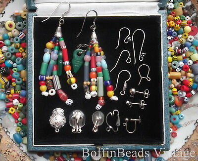 Multi-coloured antique Africa Trade beads tassel EARRINGS talhakimt .925 jazzy