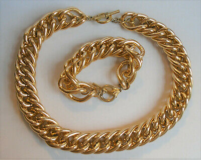 Vintage Anne Klein Gold Chunky Curb Chain Lion Head Toggle Necklace & Bracelet