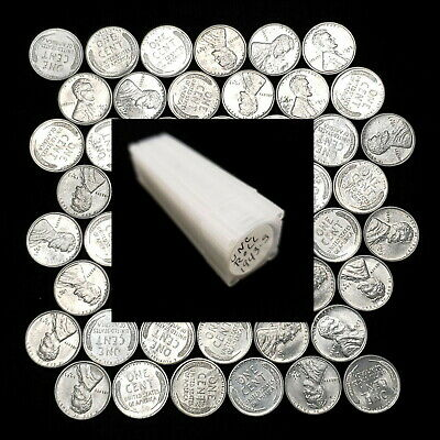 1943 S Lincoln Cent Wheat Steel Penny 1 Roll (50) 01c Uncirculated Coins X/43S53