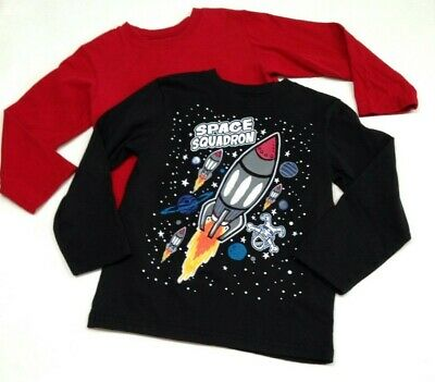 5T - Boy's Lot - GARANIMALS - Long-Sleeve T-Shirts/ Basic Cotton Tops SPACE/ RED