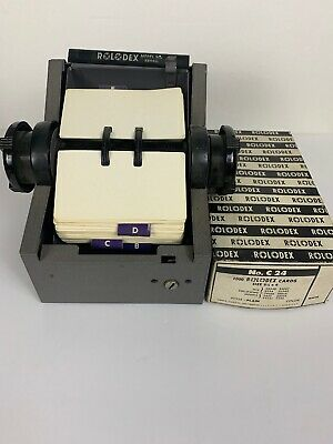"Vintage Industrial Gray Metal Rolodex Model 2254D 4"" with Address Cards"