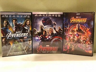 Avengers DVD AGE OF ULTRON / Infinity War DVD New Free Shipping ALL 3