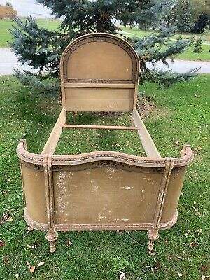 Antique Vintage French Provincial Wooden Twin Bed Hand Painted Hand Crafted