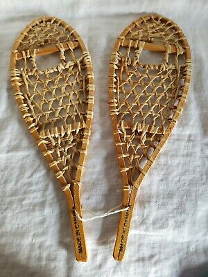 "Vtg Antique 15.5"" Wood Miniature Salesman Sample Snowshoes ; Made in Canada"