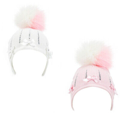 Baby Girl Pom Pom Hat with Diamantes & Satin Bows Knitted Pink White 0-12 Months