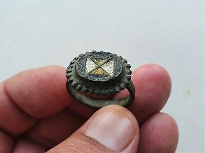 ancient late Roman - Byzantine bronze beautiful colour enamel ring
