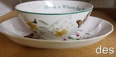 2 Pc LENOX ~  Butterfly Meadow Bless this Home TRAY & Home where Heart is BOWL