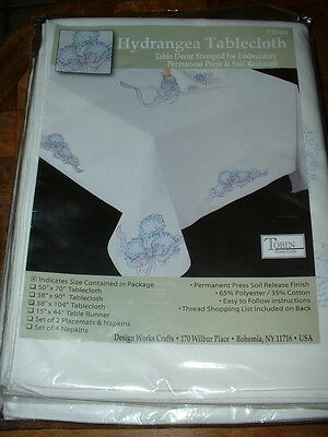 """Tobin Hydrangea Stamped Embroidery Tablecloth #T201481 58x104"""" New"""