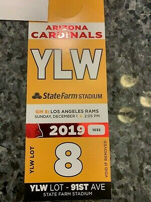 Arizona Cardinals vs Los Angeles Rams 12/1 Yellow Lot Parking Pass