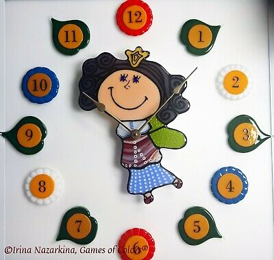 "A Decorative fused glass Wall clock ""Time Fairy"""