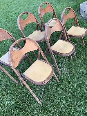 Antique Vintage Set Of 6 Solid Kumfort Louis Rastetter & Sons Folding Chairs
