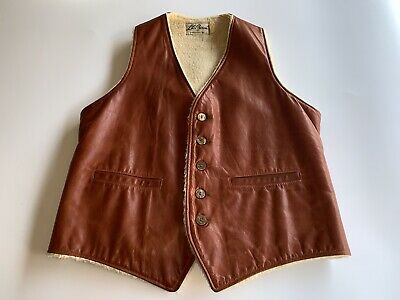Vintage LL Bean Brown Leather Shearling Lined Vest 5 Buttons