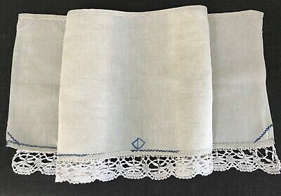 Antique Linen Runner / Mantel Cover, Bobbin Lace, Hand-Embroidery