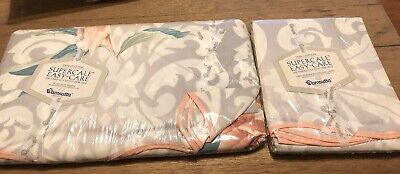 NOS New Sealed Vtg Wamsutta Supercale Full Flat Sheet Grey Gray & Pillow Cases