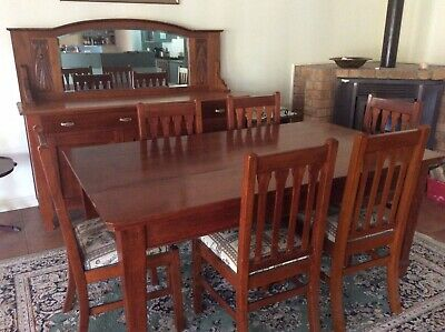 Silky Oak Table, 6 Chairs And Matching Side Board Buffet