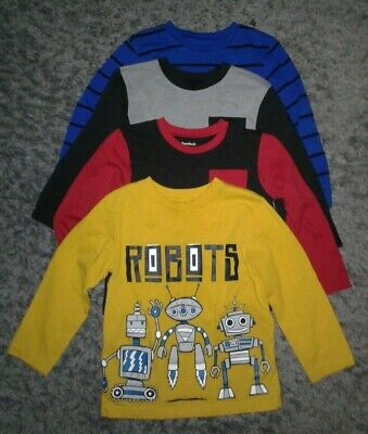Lot of 4 Garanimals Yellow Blue Gray Black LongSleeve T-Shirt Toddler Boy Size5T
