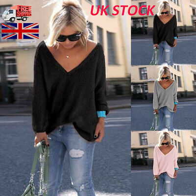 Womens Long Sleeve V Neck Loose Knitted Sweater Ladies Casual Jumper Tops A