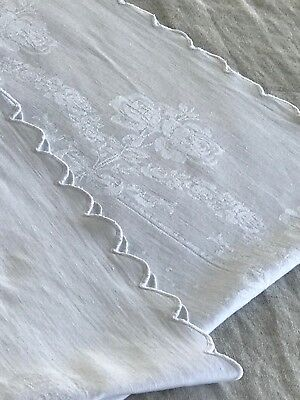 ANTIQUE LINEN DAMASK TABLECLOTH, SCALLOPS, ROSES & BOWS, approx 4' square