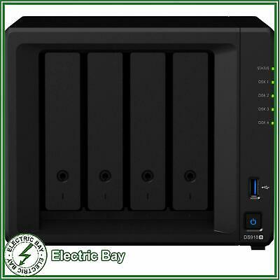 4 Bay Synology DS918+ 4GB DiskStation Scalable Gigabit NAS Unit Home Network