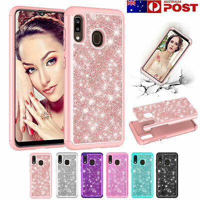 Samsung Galaxy A20 A30 A50 Case, Bling Glitter Shockproof Hybrid Armor  Cover