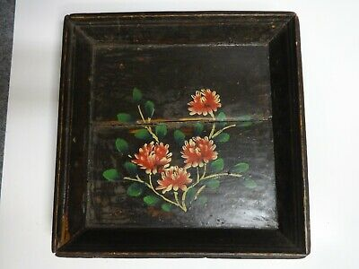Antique Chinese Wood Hand Painted Flower Square Tray