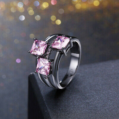Women Cubic Zirconia Crystal Propose Engagement Wedding Band Rings Size 6-9