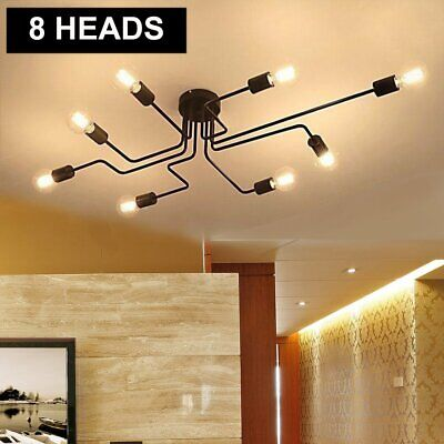 8-Head Ceiling Chandelier Light Vintage Steampunk Pendant Lamp Mount Fixture USA