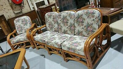4 SEATER 1960s PRETZEL STYLE CANE LOUNGE - 3 seater and 1 x single