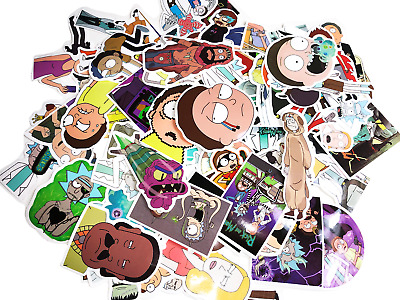 50 Random Unique Rick and Morty Skateboard Stickers Laptop Sticker Bomb Lot Set