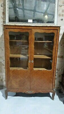 FRENCH TWO DOOR BOOKCASE WITH MARBLE TOP. c.1920