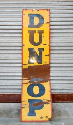 Antique Old DUNLOP Tyre Company Porcelain Enamel Adv Sign Board