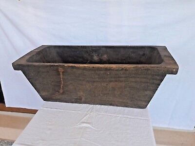 Antique Primtive Large Rectangle HandCarved Single Wood Trencher Dough Bowl 18c-
