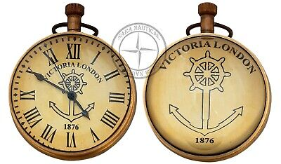 Antique Maritime Brass Desk Clock Vintage Nautical Victoria London Anchor Clock