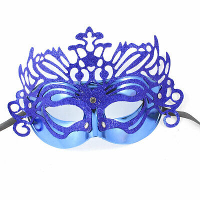 Glitter Powder Detailing Blue Mardi Gras Costume Ball Party Mask 26cm