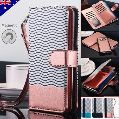 Samsung Galaxy Note 8 S8 Plus Flip Leather Wallet Case Removable Magnetic Cover